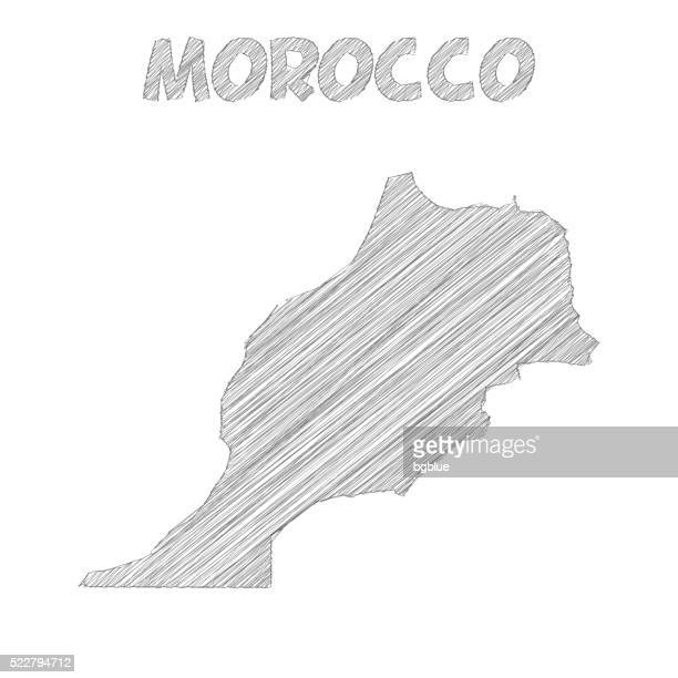 Morocco map hand drawn on white background