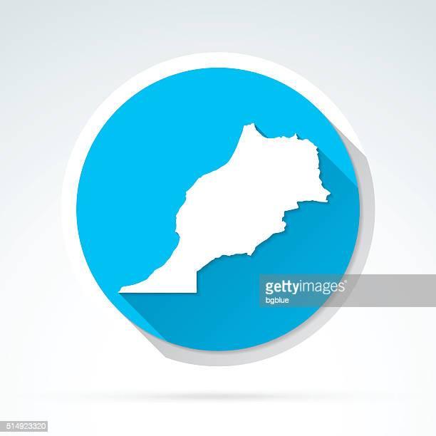 Morocco map icon, Flat Design, Long Shadow