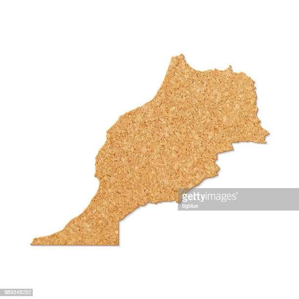 Morocco map in cork board texture on white background