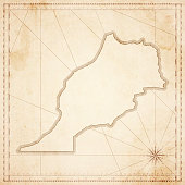 Morocco map in retro vintage style - old textured paper