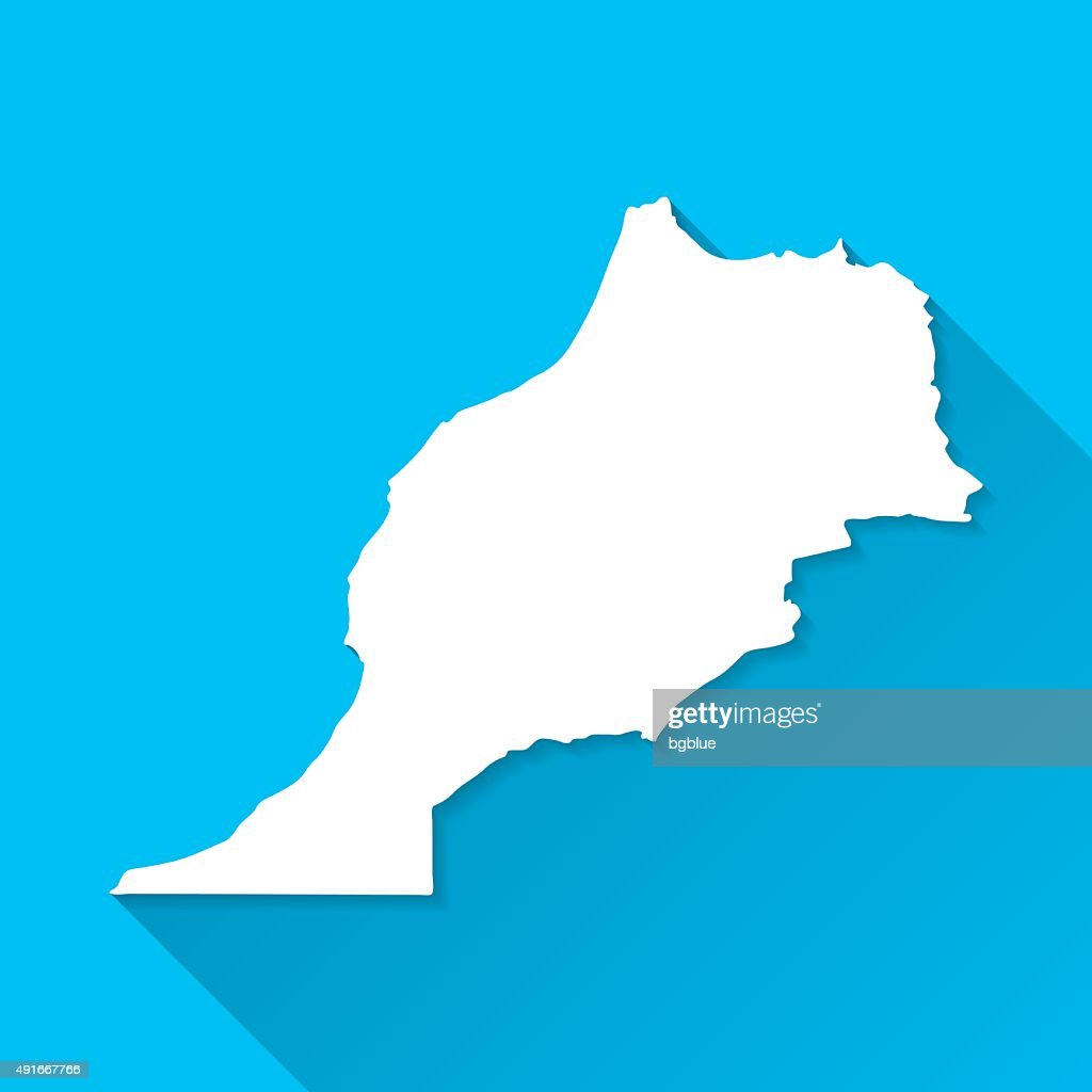 Morocco Map on Blue Background, Long Shadow, Flat Design : stock illustration