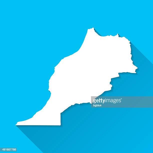 Morocco Map on Blue Background, Long Shadow, Flat Design