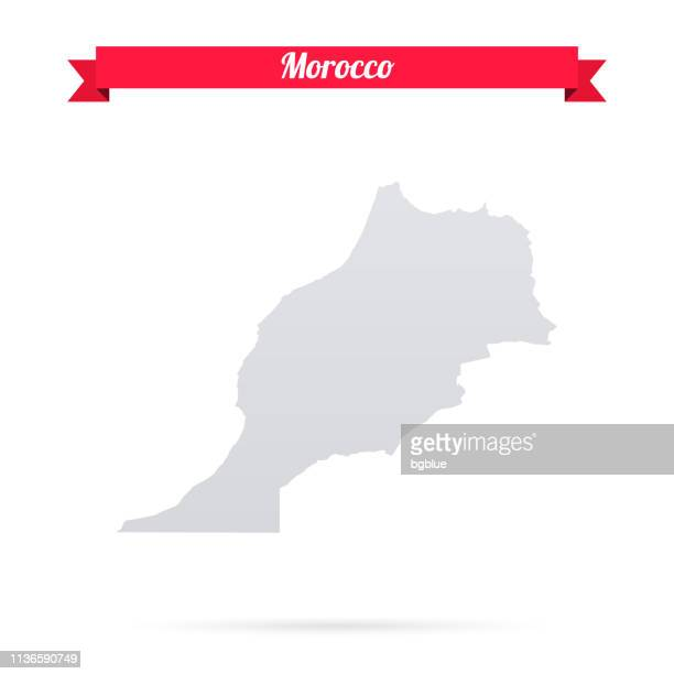 Morocco map on white background with red banner