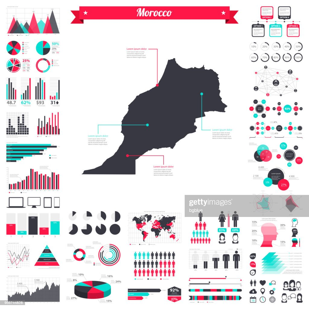 Morocco map with infographic elements - Big creative graphic set : stock illustration