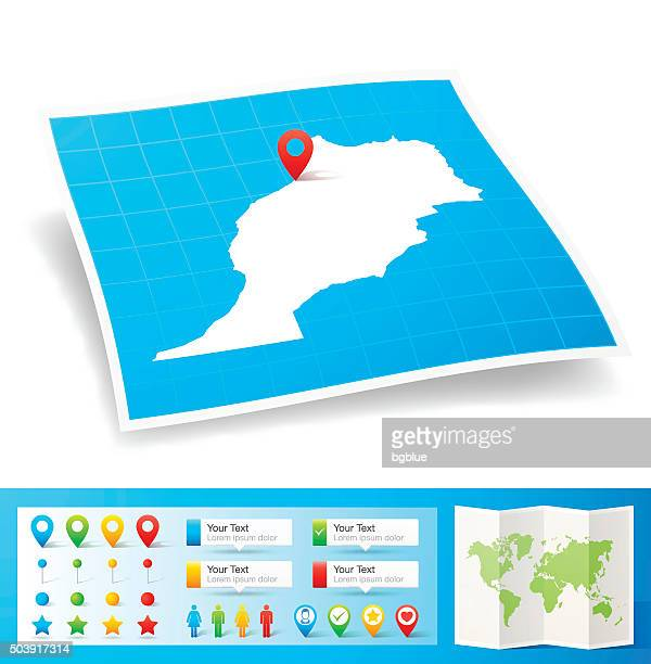 Morocco Map with location pins isolated on white Background