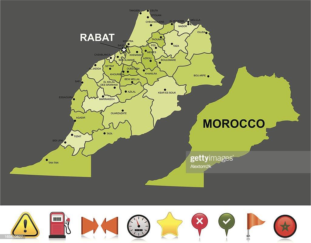 Morocco navigation map : stock illustration