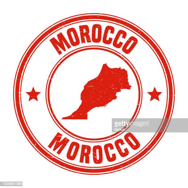 Morocco - Red grunge rubber stamp with name and map