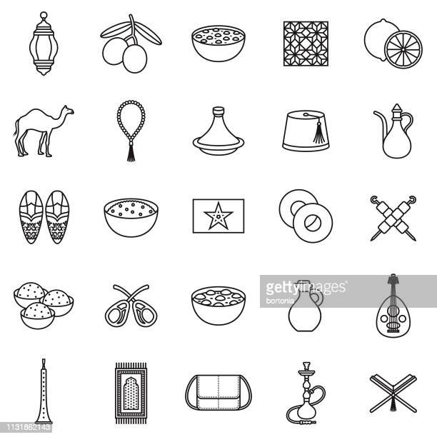 morocco thin line icon set - couscous stock illustrations