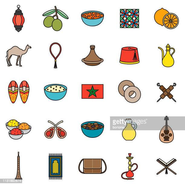 Morocco Thin Line Icon Set