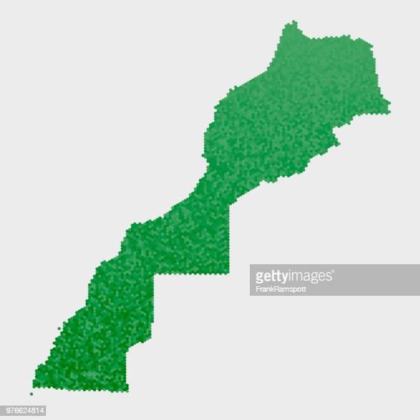 Marokko-Westsahara-Land-Map-grünen Sechseck-Muster