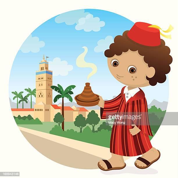 morroccan boy - morocco stock illustrations, clip art, cartoons, & icons