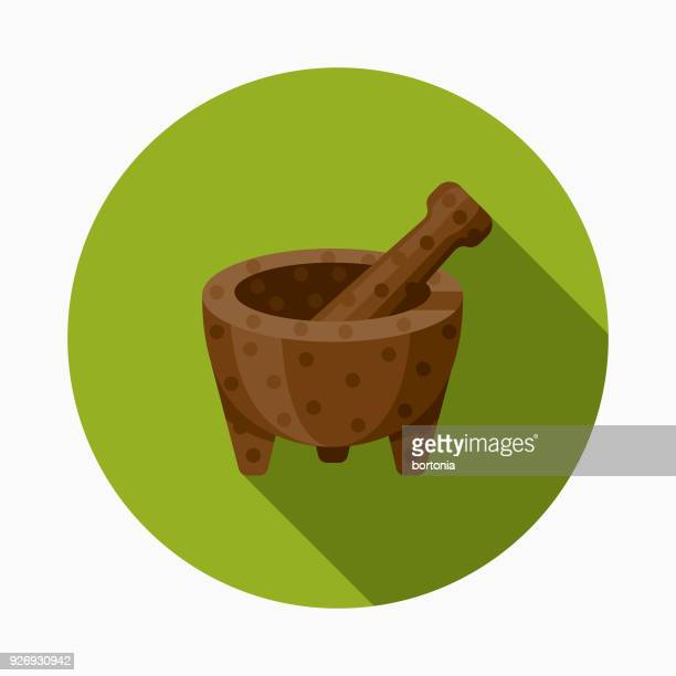 mortar and pestle flat design mexico icon with side shadow - mortar and pestle stock illustrations, clip art, cartoons, & icons