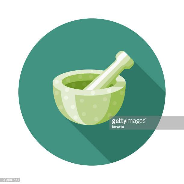 mortar and pestle flat design naturopathy icon with side shadow - mortar and pestle stock illustrations, clip art, cartoons, & icons