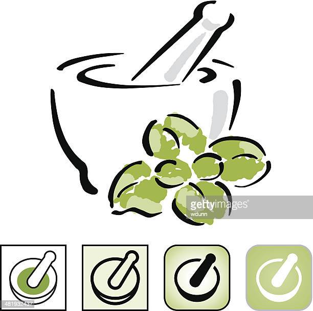 mortar and pestle icon set. - basil stock illustrations, clip art, cartoons, & icons
