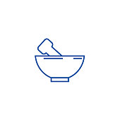 Mortar and pestle line icon concept. Mortar and pestle flat  vector symbol, sign, outline illustration.