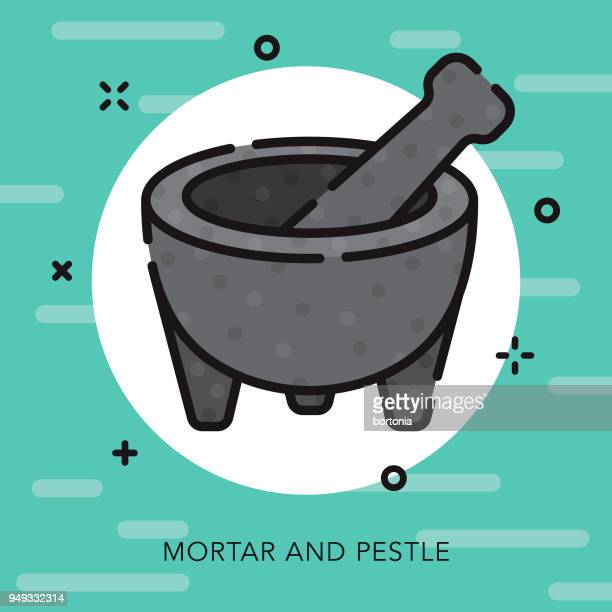 mortar and pestle open outline cinco de mayo icon - mortar and pestle stock illustrations, clip art, cartoons, & icons