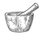 Mortar and Pestle. Vintage vector engraved illustration.