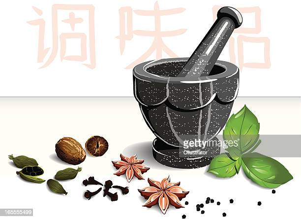 mortar and spices - mortar and pestle stock illustrations, clip art, cartoons, & icons