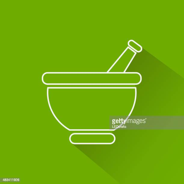 mortar icon - mortar and pestle stock illustrations, clip art, cartoons, & icons