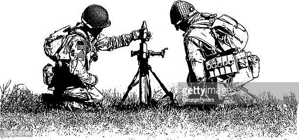 ww2 mortar team - omaha beach stock illustrations