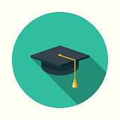 Mortarboard Flat Design Education Icon with Side Shadow