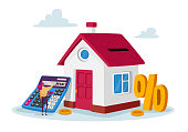 Mortgage and Home Buying Concept. Tiny Female Character with Huge Calculator and Percent Symbol at House with Gold Coins