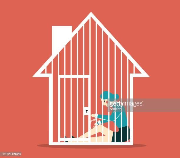 mortgage - businesswoman - prisoner stock illustrations