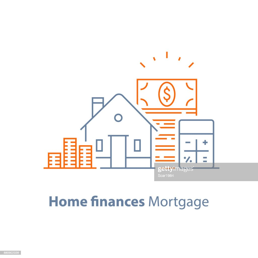 Mortgage down payment, home loan, low interest rate, calculator line icon