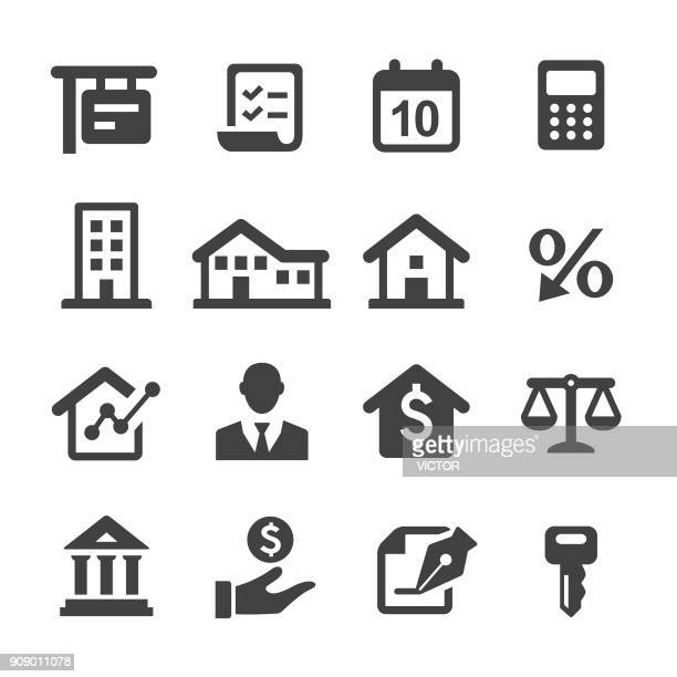 mortgage icons - acme series - legal document stock illustrations, clip art, cartoons, & icons