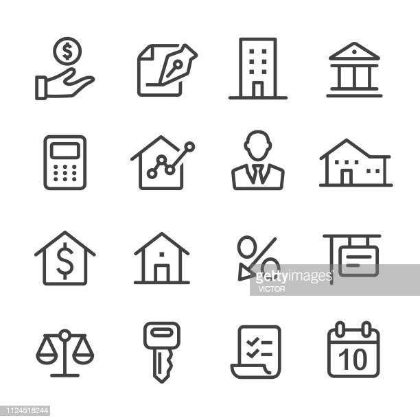 mortgage icons - line series - borrowing stock illustrations