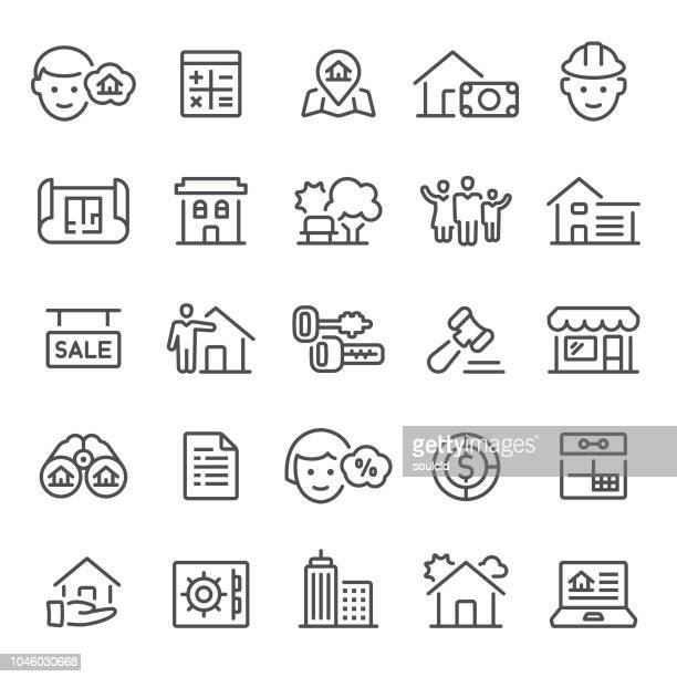 mortgage icons - legal document stock illustrations, clip art, cartoons, & icons