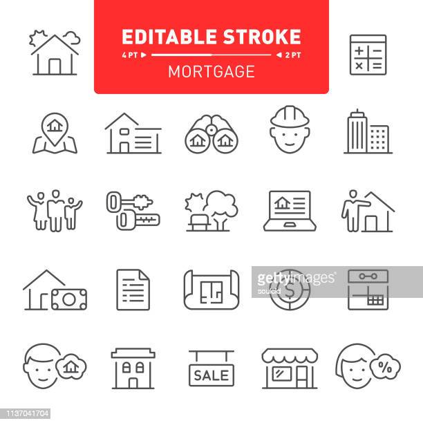 mortgage icons - real estate stock illustrations