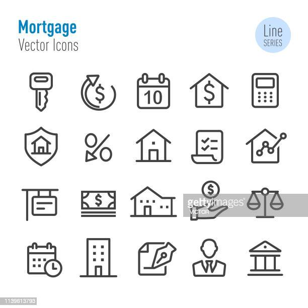 mortgage icons - vector line series - loan stock illustrations
