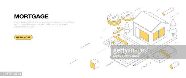 mortgage isometric banner design - mortgage loan stock illustrations