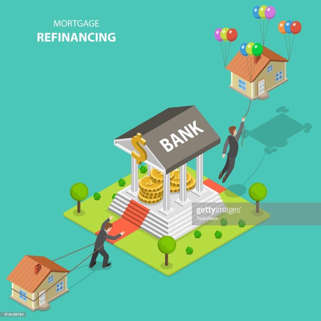 Mortgage refinancing isometric flat vector illustration.