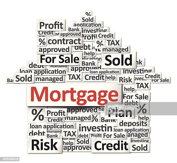 mortgage - sold single word stock illustrations