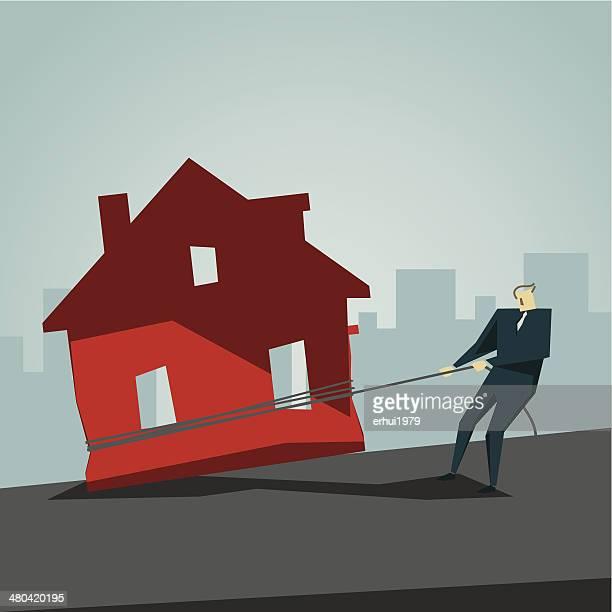 mortgage - subprime loan crisis stock illustrations