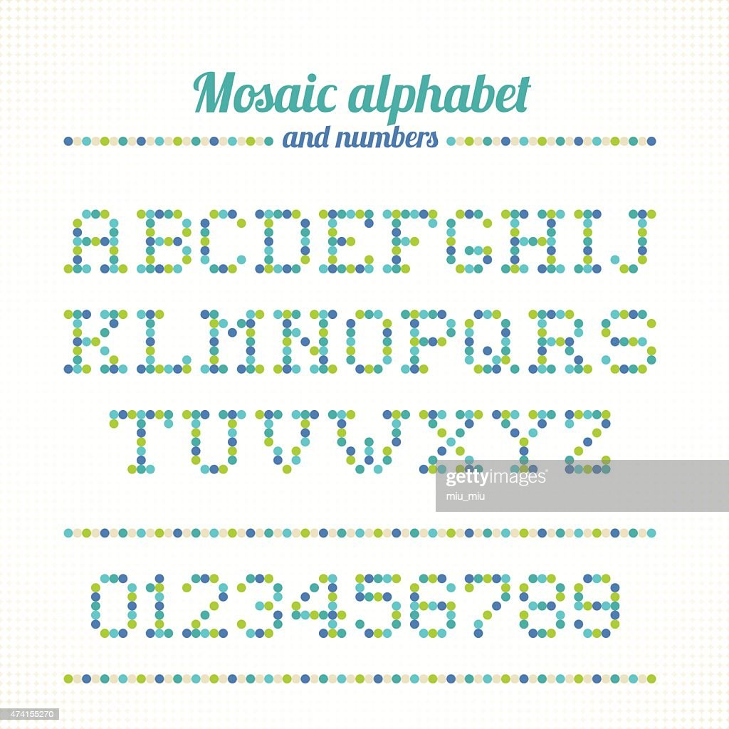 Mosaic alphabet and numbers