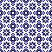 Mosaic blue white tiled pattern.