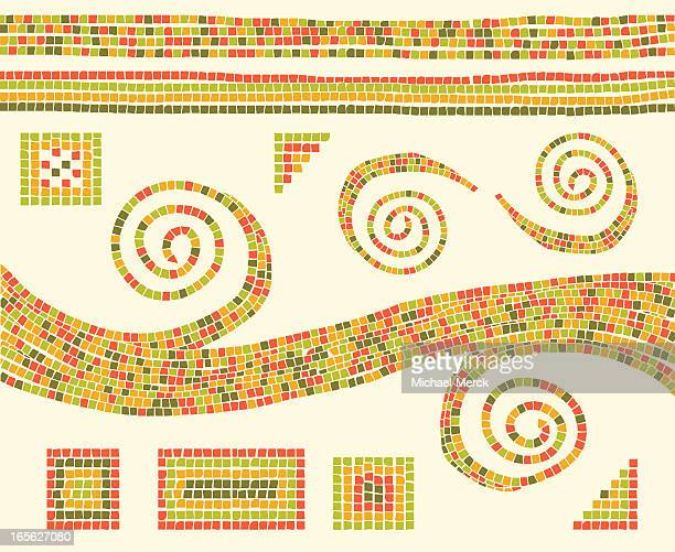 mosaic design elements - mosaic stock illustrations