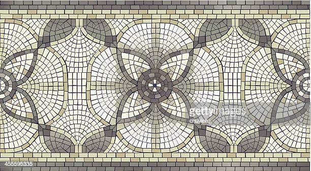 mosaic floral seamless border - mosaic stock illustrations