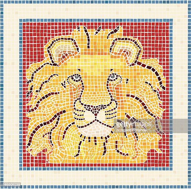 mosaic lion - animal mane stock illustrations