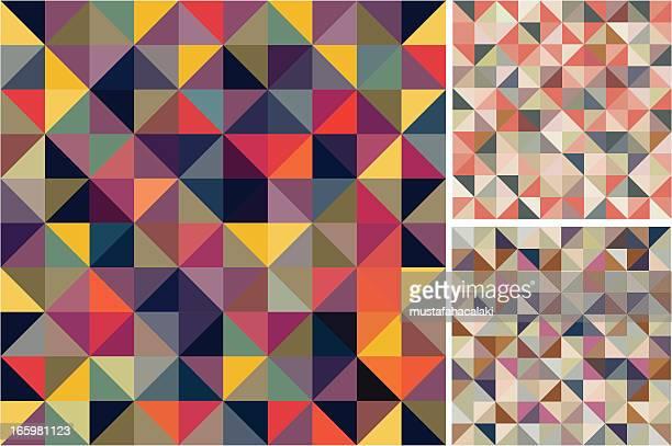 mosaic seamless patterns - colour block stock illustrations