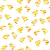 Mosaic silhouettes of fluffy chicks on white background. Vector seamless pattern.
