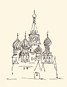 Moscow (Cathedral of Vasily the Blessed) city architecture, vintage engraved