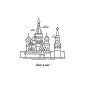 Moscow city icon isolated on white background. Moscow line vector illustration. Traveling to the capital of Russia concept.