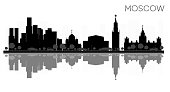 Moscow City skyline black and white silhouette with Reflections.