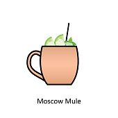 Moscow Mule cocktail icon in flat style