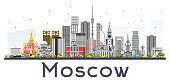 Moscow Russia Skyline with Gray Buildings Isolated on White Background.