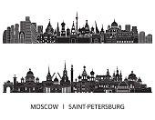 Moscow Saint Petersburg skyline. Vector illustration